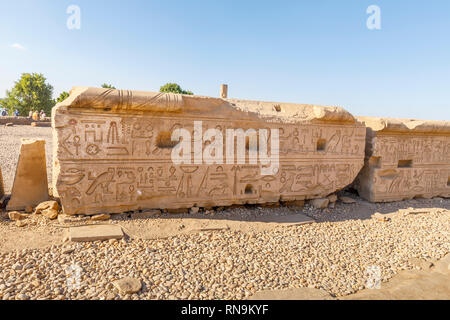 Hieroglyphs on a large stone at the Temple of Kom Ombo, Temple of Sobek, an unusual double temple from the Ptolomeic dynasty in Upper Egypt - Stock Photo