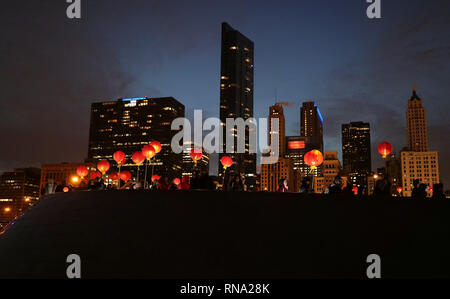 New York, USA. 9th Feb, 2019. People participate in a lantern procession to celebrate Chinese Lunar New Year in Chicago, the United States, on Feb. 9, 2019. With China in festive mood, cultural activities are being held across the United States. Dragon and lion dances, Peking Opera performances, concerts, fireworks and light shows. a flurry of events in the United States helped people understand the most important festival of China. Credit: Wang Ping/Xinhua/Alamy Live News - Stock Photo