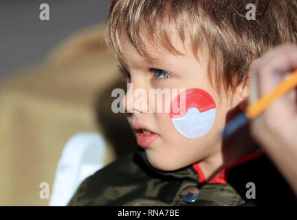 Los Angeles, USA. 17th Feb, 2019. A boy has his face painted during a celebration of Chinese Lunar New Year at the Original Farmers Market in Los Angeles, the United States, Feb. 17, 2019. The Lunar New Year celebration on Sunday attracted both locals and tourists. It kicked off with the unveiling of a steel handmade pig statue weighing 400 pounds (181 kg) in honor of this year's zodiac sign, followed by a kung-fu demonstration, acrobatic performances, a magic show and a traditional lion and dragon dance. Credit: Li Ying/Xinhua/Alamy Live News - Stock Photo