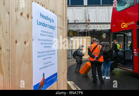 Brighton, UK. 18th Feb, 2019. Rail Replacement buses outside Brighton Railway Station this morning as commuters and travellers heading to and from London had to use them between Brighton and Three Bridges because of the Brighton Main Line Improvement Project which is taking place between 16th and 24th February Credit: Simon Dack/Alamy Live News - Stock Photo