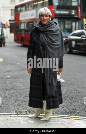 London, UK. 18th Feb, 2019. Street style seen at London Fashion Week. Guest arriving for the Roksanda AW19 show. Credit: Saira MacLeod/Alamy Live News - Stock Photo