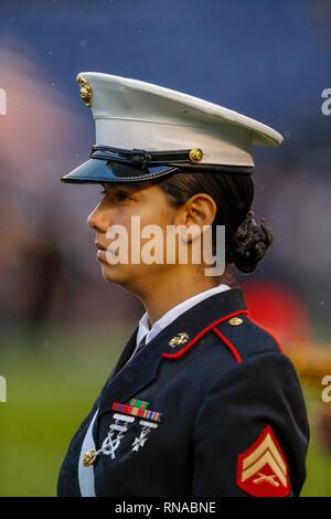 San Diego, California, USA. 17th Feb, 2019. Marine Corp band member at SDCCU Stadium in San Diego, California. Michael Cazares/Cal Sport Media/Alamy Live News - Stock Photo