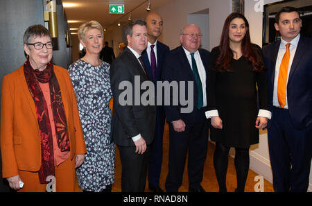 London, UK. 18th Feb, 2019. Left to right Ann Coffey, Angela Smith, Chris Leslie, Chukka Umunna, Mike Gapes, Luciana Berger and Gavin Shukar Seven Labour MPs resign to form a new Partry called The Independent Group. The Launch of the new party was announced today-February 18th, at County Hall, London. They have formed their own independent party. Credit: Tommy London/Alamy Live News - Stock Photo
