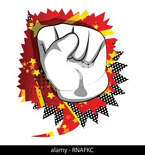 Vector cartoon hand making power to the people fist gesture. Illustrated hand sign on comic book background. - Stock Photo