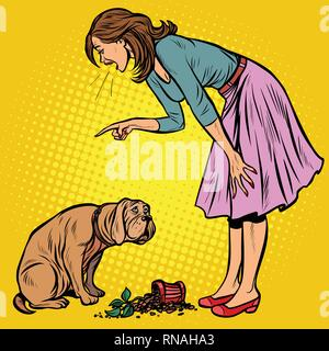 Woman scolds guilty dog. Broken pot with flower. Pop art retro vector illustration vintage kitsch - Stock Photo