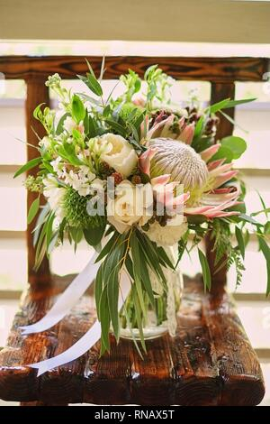 bright wedding bouquet of summer Alstroemeria and roses David Austin - Stock Photo