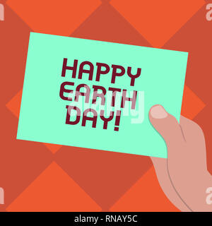 Handwriting text writing Happy Earth Day. Concept meaning Worldwide celebration of ecology environment preservation Drawn Hu analysis Hand Holding Pre - Stock Photo
