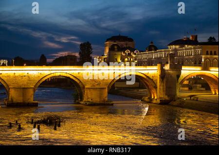 Old Stone Bridge across the Vardar River, Skopje, Macedonia - Stock Photo