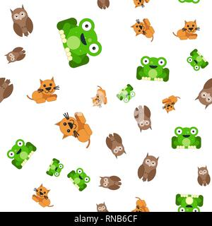 Seamless pattern of frogs cats and owls. Vector illustration in cartoon style. - Stock Photo