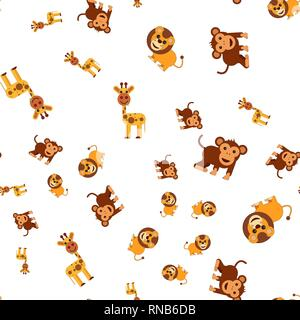 Seamless pattern of giraffe lion and monkey. Vector illustration in cartoon style. - Stock Photo