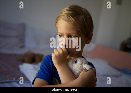 Child, young boy sucking thumb holding soft toy dog, tired, insecure - domestic setting Stock Photo