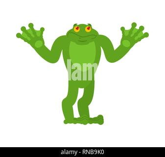 Frog confused oops. Toad perplexed emotions. Anuran surprise. Vector illustration - Stock Photo