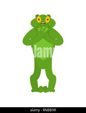 Frog scared OMG emotion. Toad Oh my God emoji. Frightened Anuran. Vector illustration - Stock Photo