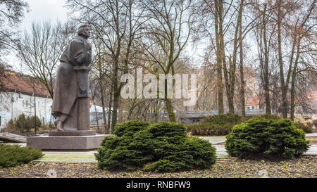 Vilnius, Lithuania - March, 11, 2017: Statue of Adam Mickiewicz Bernadine church in the old town of Vilnius in Lithuania Baltic States Europe - Stock Photo