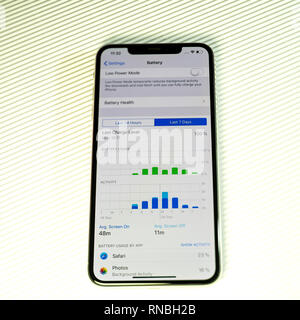 PARIS, FRANCE - SEP 27, 2018: new iPhone Xs Max smartphone model by Apple Computers close up with battery and activity screen time stats app showing phone usage - Stock Photo