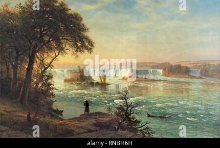 Albert Bierstadt (Solingen, 1830-New York, 1902). The Falls of St. Anthony (ca. 1880 - 1887). Oil on canvas. 96.8 x 153.7 cm. Museum: Museo Nacional Thyssen-Bornemisza, Madrid. - Stock Photo