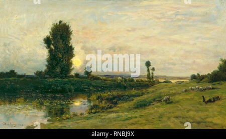 Charles-François Daubigny (París, 1817-1878). Moonrise on the Banks of the River Oise (1874). Oil on panel. 38.5 x 67.2 cm. Museum: Museo Nacional Thyssen-Bornemisza, Madrid. Author: DAUBIGNY, CHARLES-FRANCOIS. Charles-Francois Daubigny. - Stock Photo