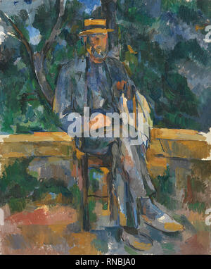 Paul Cézanne (Aix-en-Provence, 1839-1906). Seated Man (1905 - 1906). Oil on canvas. 64.8 x 54.6 cm. Museum: Museo Nacional Thyssen-Bornemisza, Madrid. - Stock Photo