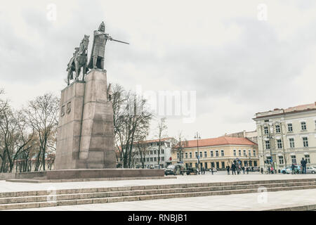 Statue of Grand Duke Gediminas on the Cathedral Square in the old town of Vilnius, Lithuania - Stock Photo