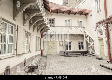 Picturesque courtyard in the old town Vilnius, Lithuania - Stock Photo
