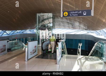 Train passengers at Union Metro Station in Union Square off Al Maktoum Road in Diera, Dubai, UAE in the United Arab Emirates, (UAE) - Stock Photo