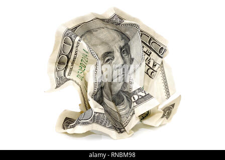 Crumpled hundred-dollar banknote on white background, isolated - Stock Photo