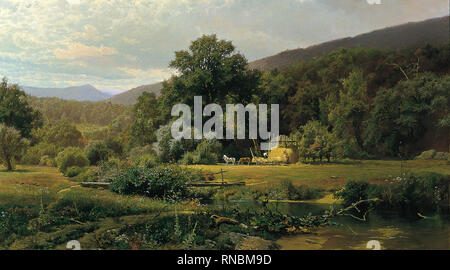 Hugh Bolton Jones (Baltimore, 1848-Nueva York, 1927). Summer in the Blue Ridge (1874). Oil on canvas. 76.5 x 138.5 cm. Museum: Museo Nacional Thyssen-Bornemisza, Madrid. - Stock Photo
