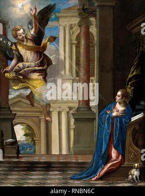 Veronese (Verona, 1528 - Venice, 1588). The Annunciation (ca. 1580). Oil on canvas. 110 x 86.5 cm. Museum: Museu Nacional d'Art de Catalunya (MNAC). - Stock Photo