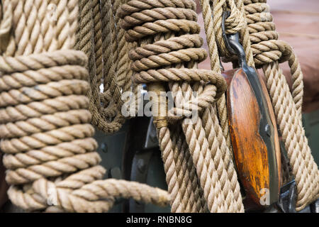 Rigging on a historical Dutch sailing boat, docked in Gouda, The Netherlands, during the annual Harbour Days 2010. - Stock Photo