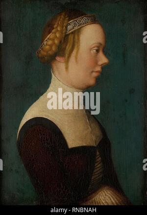 Hans the Elder Holbein (Augsburg (?), 1460/65 - Augsburg, 1534). Portrait of a Woman (ca. 1518 - 1520). Oil on panel. 23.6 x 17 cm. Museum: Museo Nacional Thyssen-Bornemisza, Madrid. Author: Holbein, Hans the Elder. Holbein, Hans, the Younger. - Stock Photo