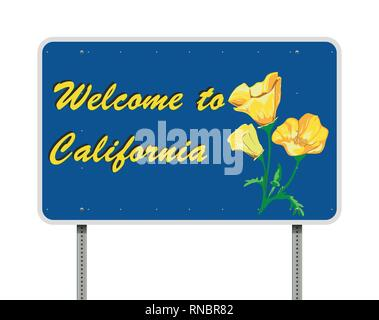 Vector illustration of the Welcome to California blue road sign Stock Photo