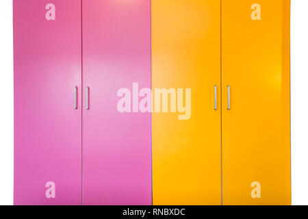 colorful pink and orange freshly painted wall and closet doors, doors are closed isolated on white - Stock Photo