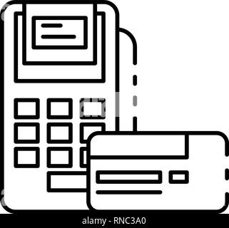 Payment terminal icon, outline style - Stock Photo