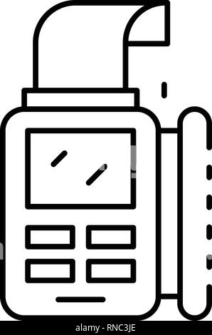 Bill paper pos terminal icon, outline style - Stock Photo