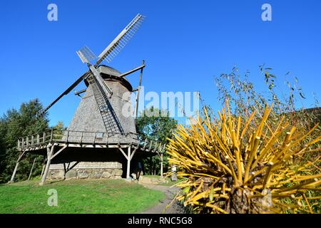 A historic cap windmill at the museum village in Cloppenburg (Germany), 31 October 2018. | usage worldwide - Stock Photo