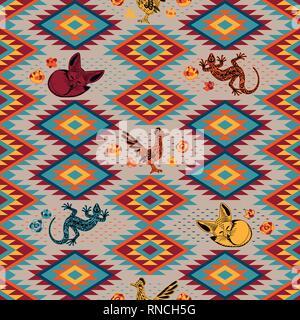 Kilim. Ethnic geometric ornament with desert animals. Pattern of bright rhombuses. Greater roadrunner, Fennec fox, lizard. Seamless vector pattern - Stock Photo