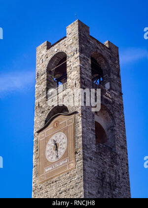 """Torre Civica bell tower also called """"Campanone"""" in Bergamo, Italy - Stock Photo"""