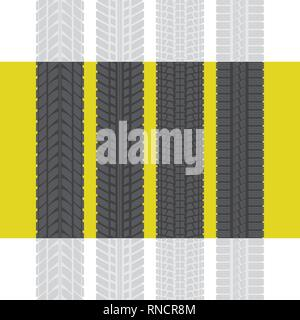 Set of four black tire track silhouettes isolated on yellow background - Stock Photo
