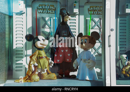 FRANCE, PARIS - February 27.2016 - showcase of a shop with disney characters dressed as Star Wars inside the Village Area at DisneyLand, Paris - Stock Photo