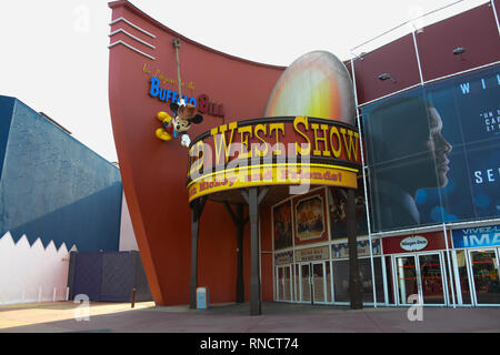 FRANCE, PARIS - February 27, 2016 - Entrance to one of the Leisure cinemas in the Village area, where you can enjoy of restaurants, drinks, shops.. - Stock Photo