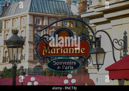 FRANCE, PARIS - February 27,2016 - advertising poster of a souvenir shop in La Place de Remy, in Disney Studios, Paris - Stock Photo
