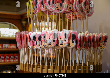 FRANCE, PARIS - February 27.2016 -View of many candy lollipops, with the face of the mouse Minnie,inside the many souvenir and takeaway establishments - Stock Photo