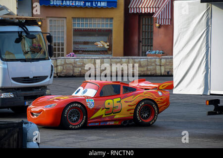 FRANCE, PARIS - February 28, 2016 - Lightning McQueen racing car from the movie Cars, making a show inside Disney Studios - Stock Photo