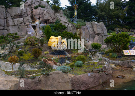 FRANCE, PARIS - February 28, 2016 - Boat ride, watching Disney stories in small models, such as Snow White, Cinderella ... in Disneyland, Paris - Stock Photo