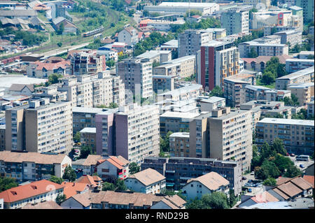 City of Deva seen from Citadel Hill in Deva, Romania. July 16th 2009 © Wojciech Strozyk / Alamy Stock Photo - Stock Photo