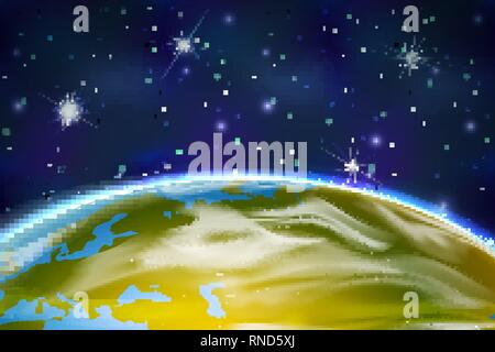 View on Earth planet from orbit on space background with bright stars and constellations - Stock Photo
