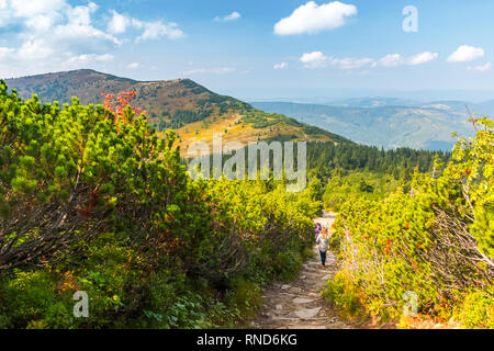 View from Babia Gora or Babi Hora, the highest summit in Beskids mountains in Poland and Slovakia border - Stock Photo