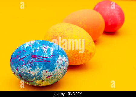 Colorful handmade easter eggs. Festive tradition. - Stock Photo