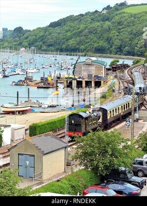 Kingswear, Devon, UK. June 17, 2009. The steam train arriving at Kingswear station from Paignton running by the side of the river Dart at Devon, Engla - Stock Photo