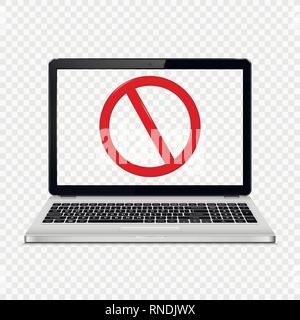 Laptop with transparent screen isolated on transparent background with stop sign on screen. Vector illustration. - Stock Photo
